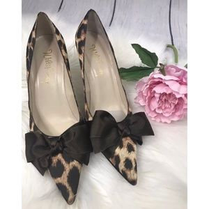 WILLS FANCY Leopard Fabric with Brown Bow Heels